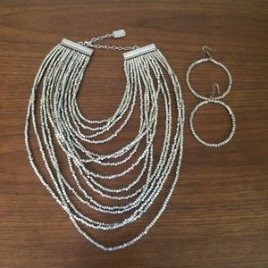 Silver statement layered necklace matching earring